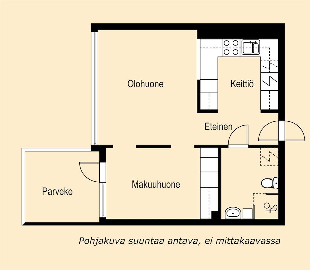 Kompakti kaksio Helsingin Kalasatamassa Pohjakuva