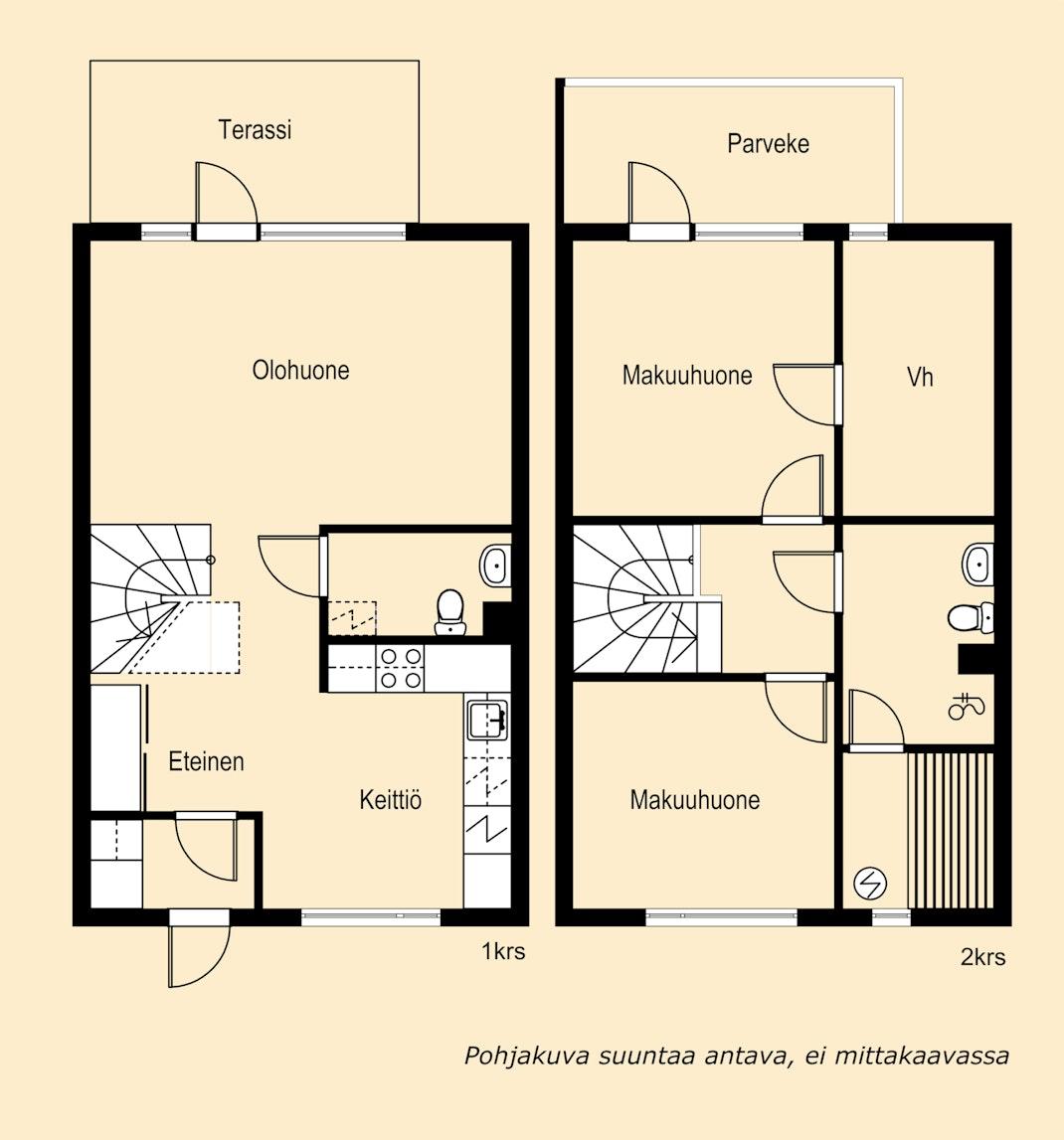 Tyylikäs ja moderni kahden makuuhuoneen rivitaloasunto Haritussa Pohjakuva