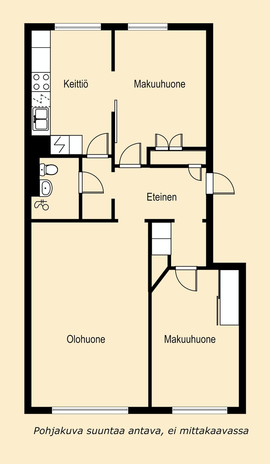 Kahden makuuhuoneen kerrostaloasunto Kalevassa Pohjakuva