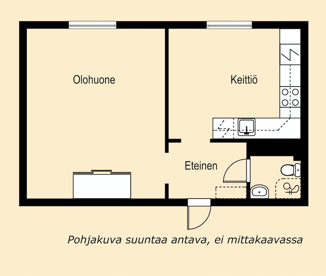 Tarjolla hieno yksiö Tampereella Pohjakuva