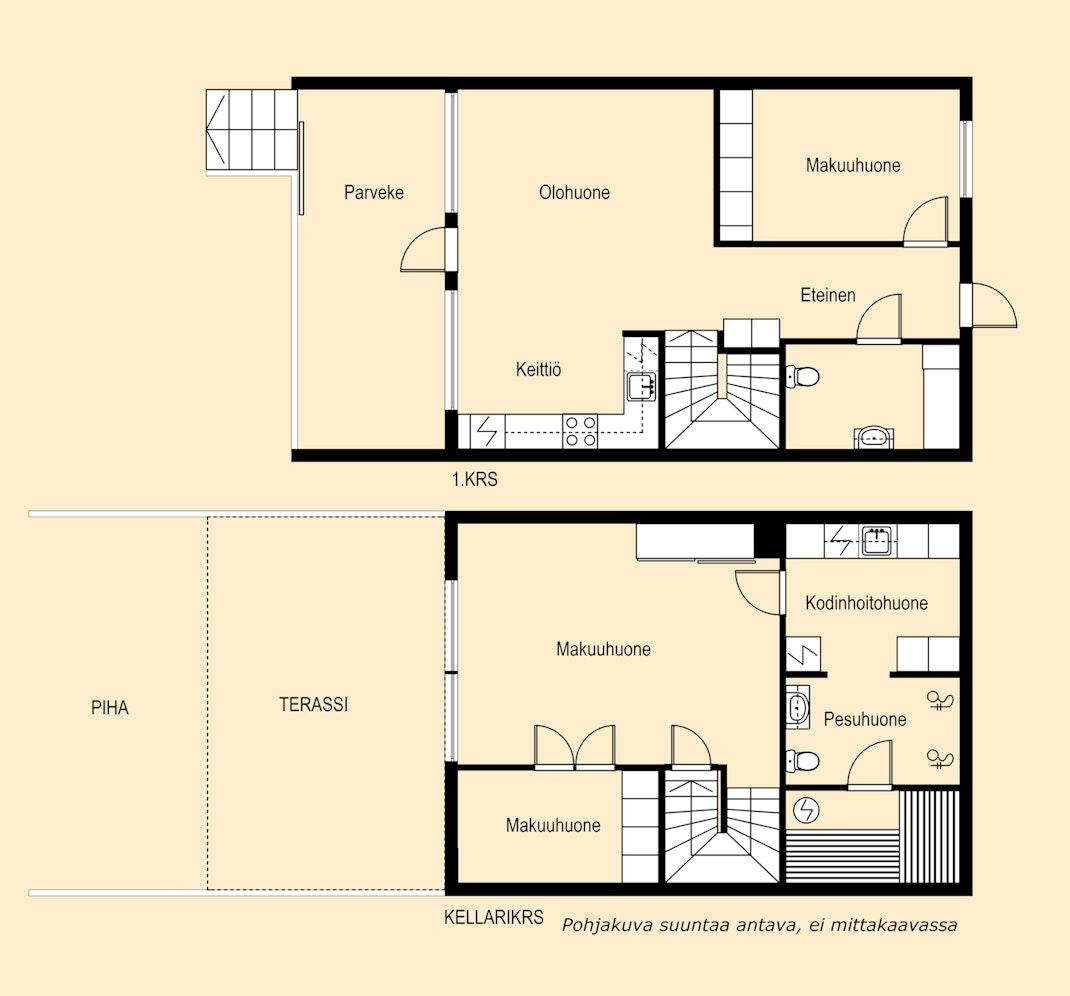 Luhtitalon kaksikerroksinen moderni koti Pohjakuva