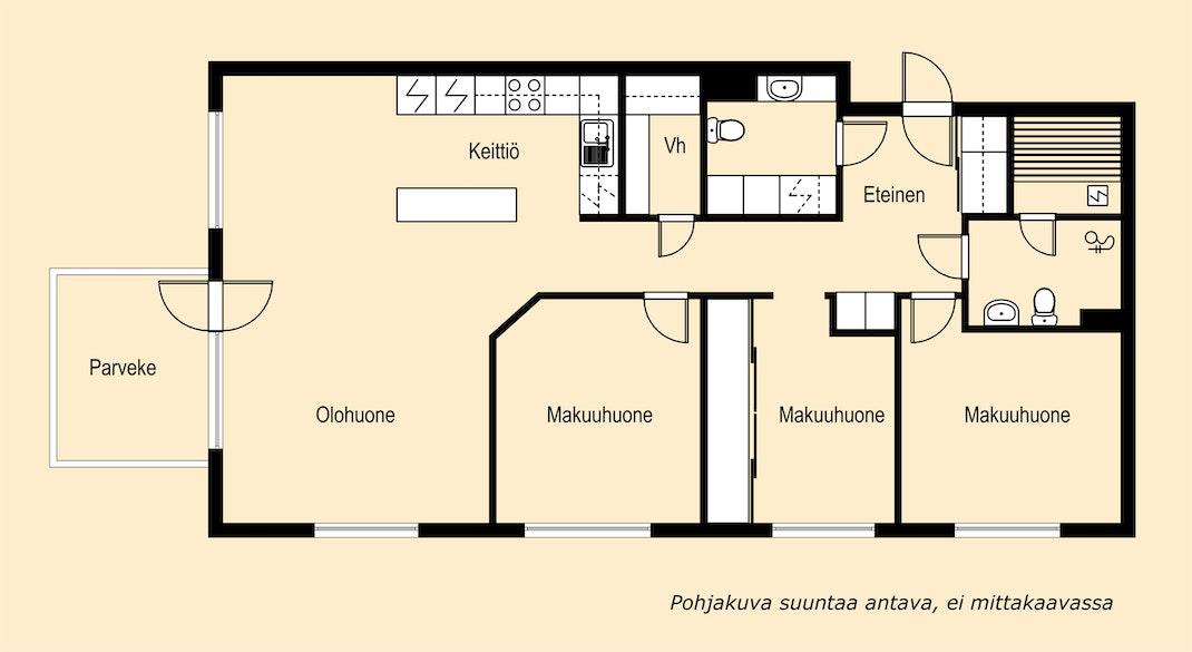 Hyväpohjainen huoneisto kuudennesta kerroksesta Pohjakuva