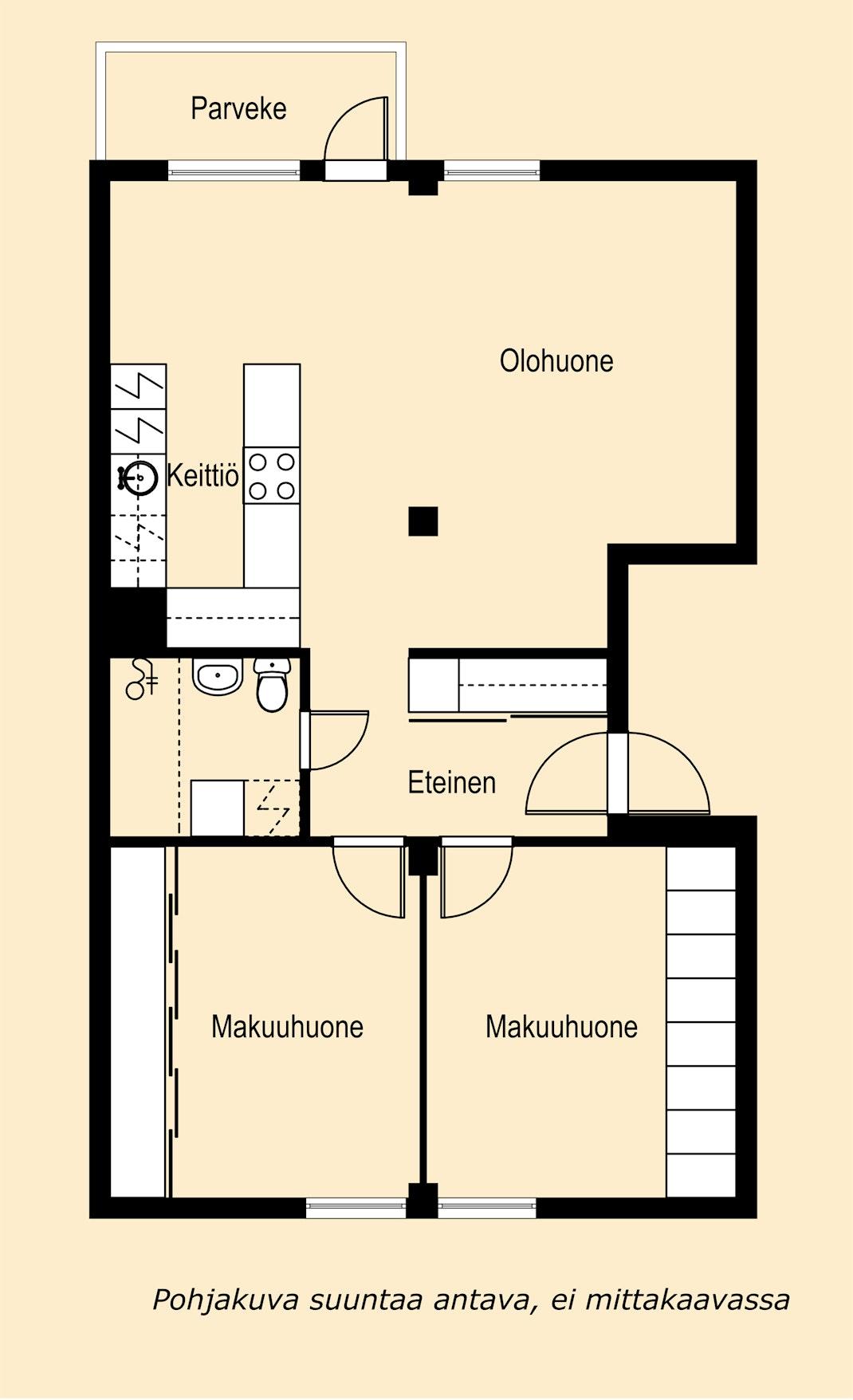 Ylimmän kerroksen vaaleasävyinen kolmio Pohjakuva