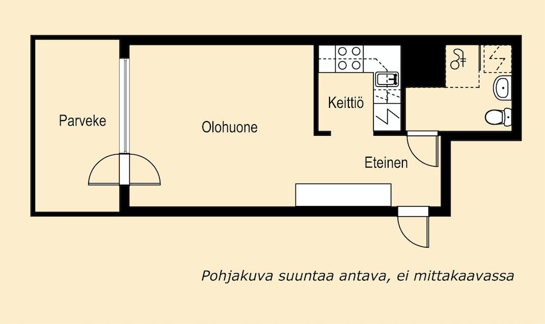 Kiva tehoyksiö hyvällä paikalla Lauttasaaressa Pohjakuva
