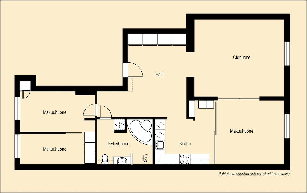 Putkiremontoidussa talossa asunto täynnä potentiaalia Pohjakuva