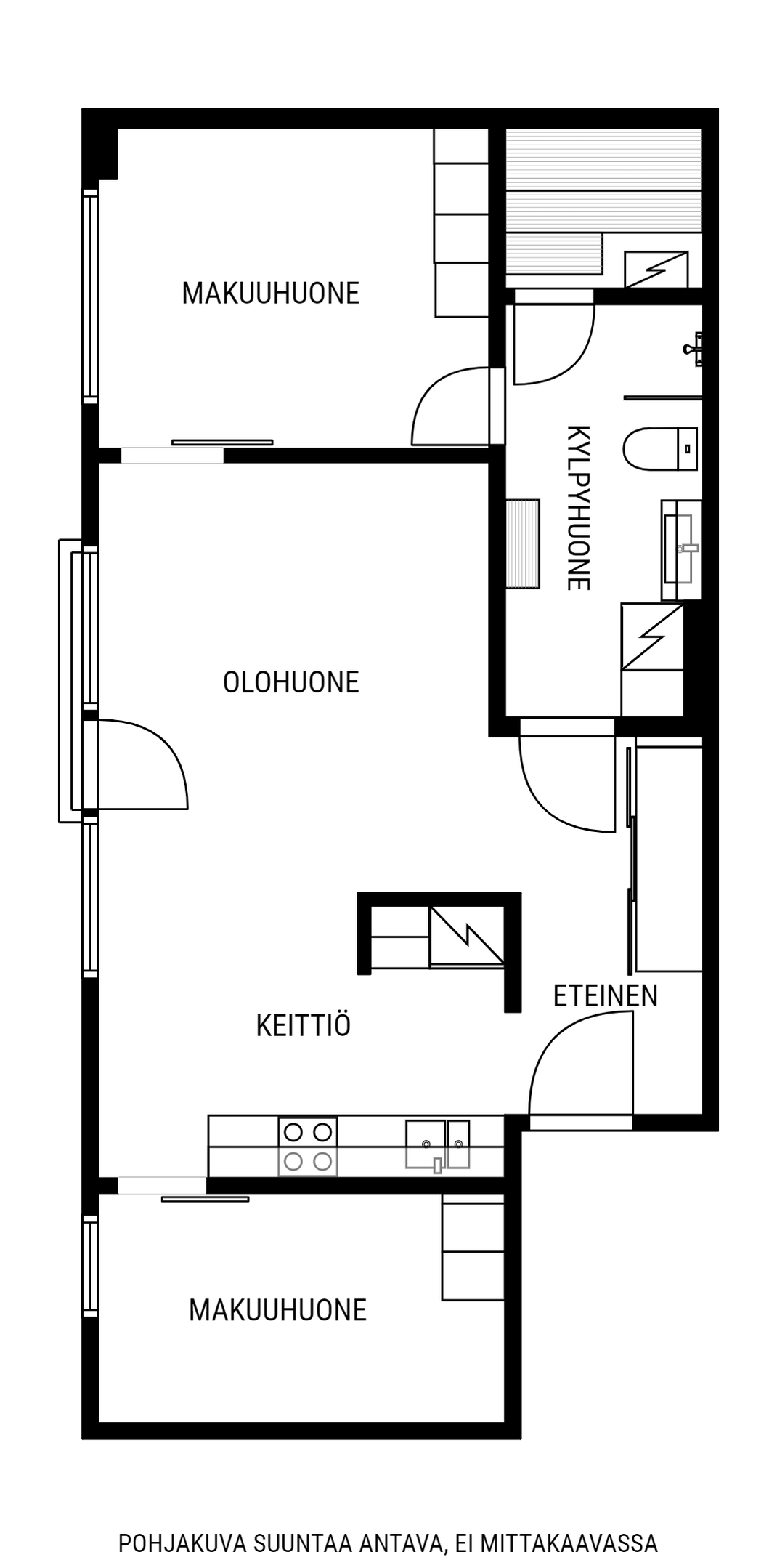 Tyylikäs kolmio keskeisellä sijainnilla Pohjakuva