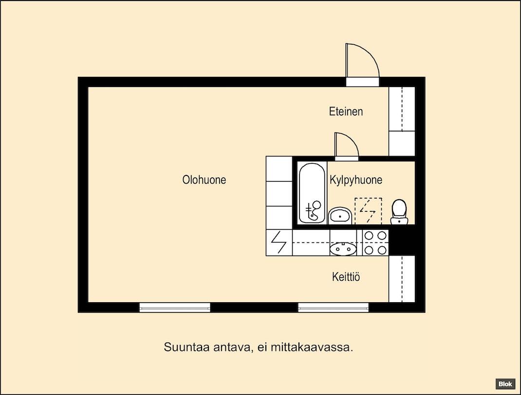 Selkeäpohjainen asunto Oulun Kaukovainiossa Pohjakuva
