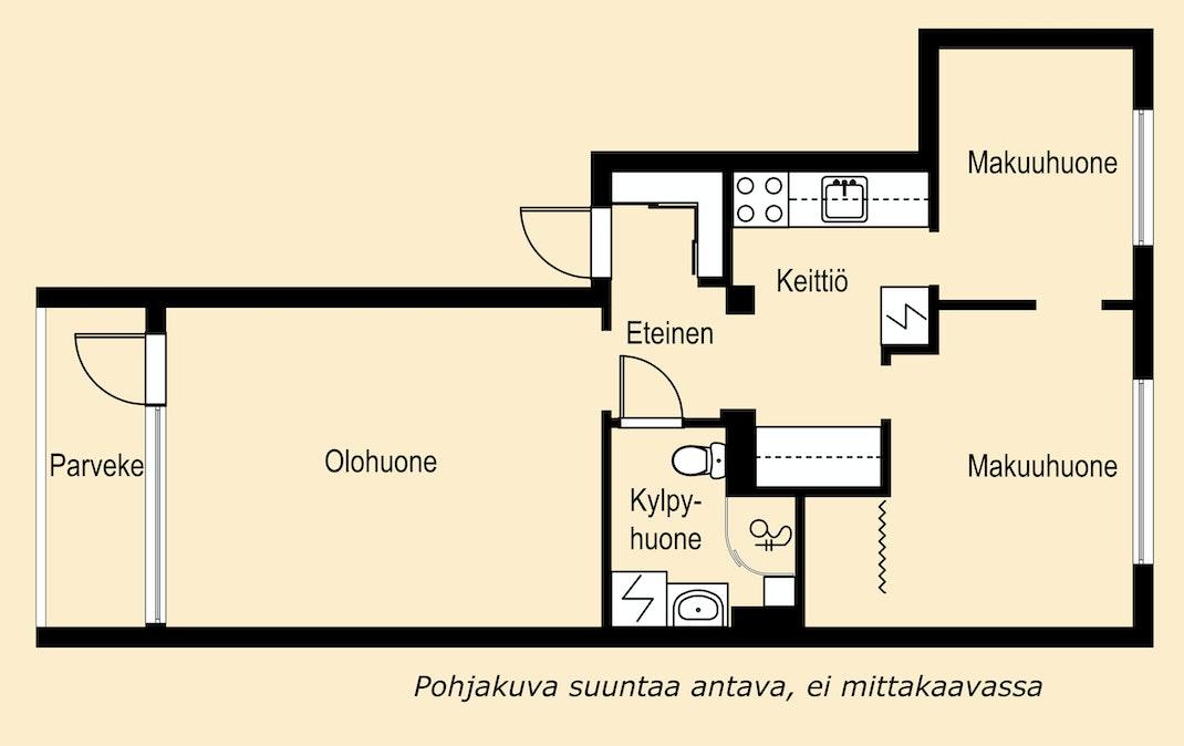 Valoisa, putkiremontoitu kolmio Helsingin Punavuoressa Pohjakuva