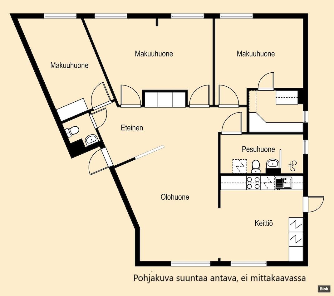 Muuttovalmis neljän huoneen asunto! Pohjakuva