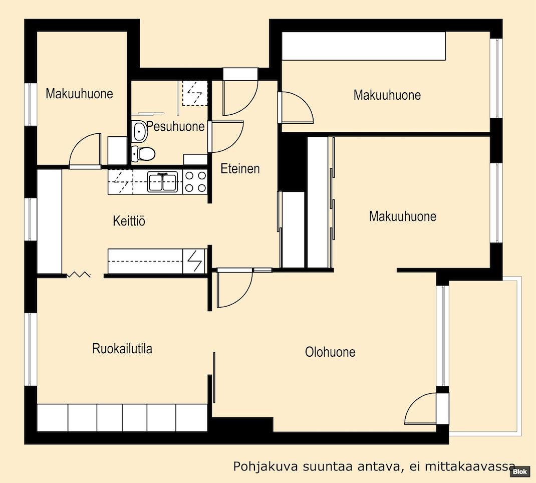 Tilava koti perheelle Jyväskylän keskustassa Pohjakuva
