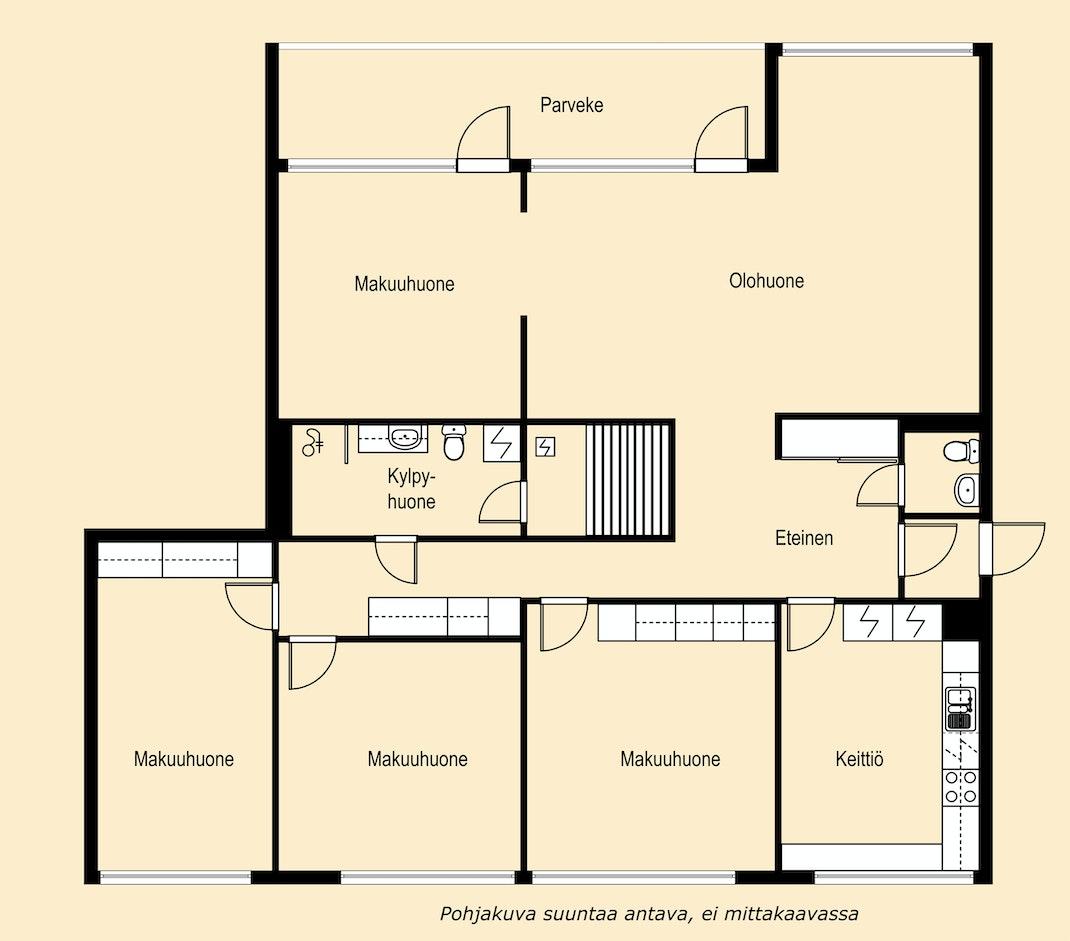 Käytännöllinen, läpitalon iso perheasunto - jopa neljä makuuhuonetta! Pohjakuva