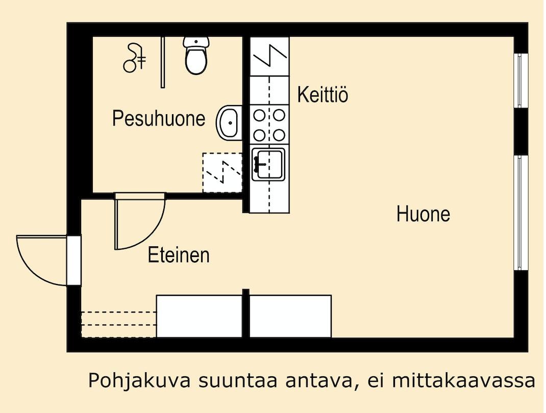 Uudenveroinen yksiö Jyväskylässä Pohjakuva