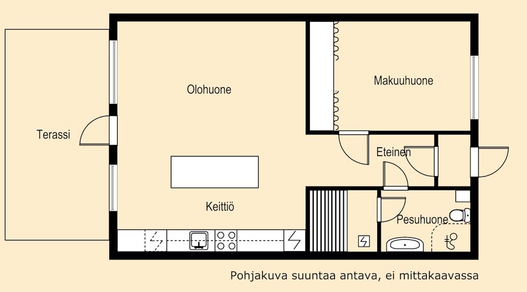 Tässä paritalohuoneistossa kaikki tarpeellinen halutulla Tapaninkylän asuinalueella! Pohjakuva