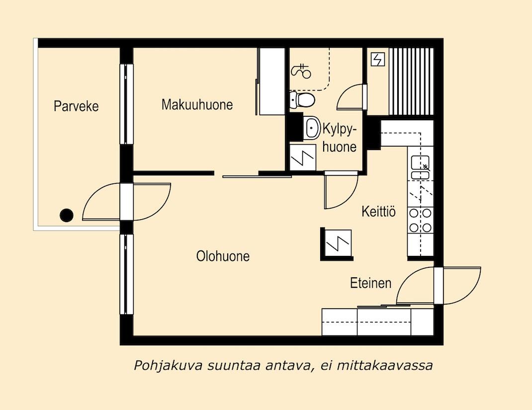 Käytännöllinen kaksio Espoossa Pohjakuva