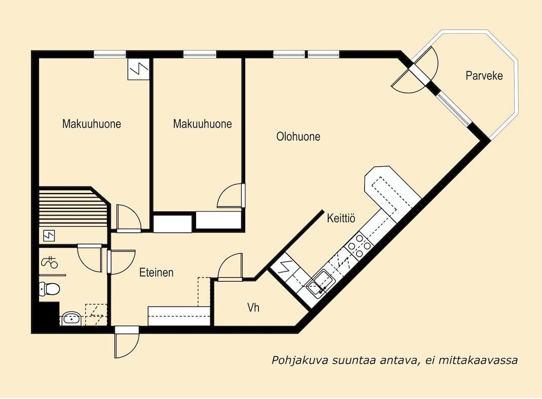 Ylimmän kerroksen parvekkeellinen kolmio Pohjakuva